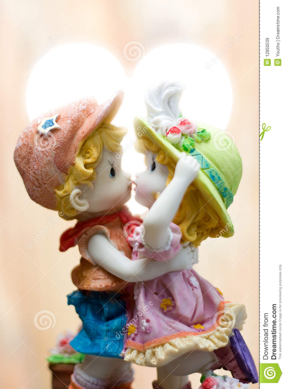 Sweet Wallpaper Boy And Girl Lovers Dolls Isolated On White Background Royalty Free