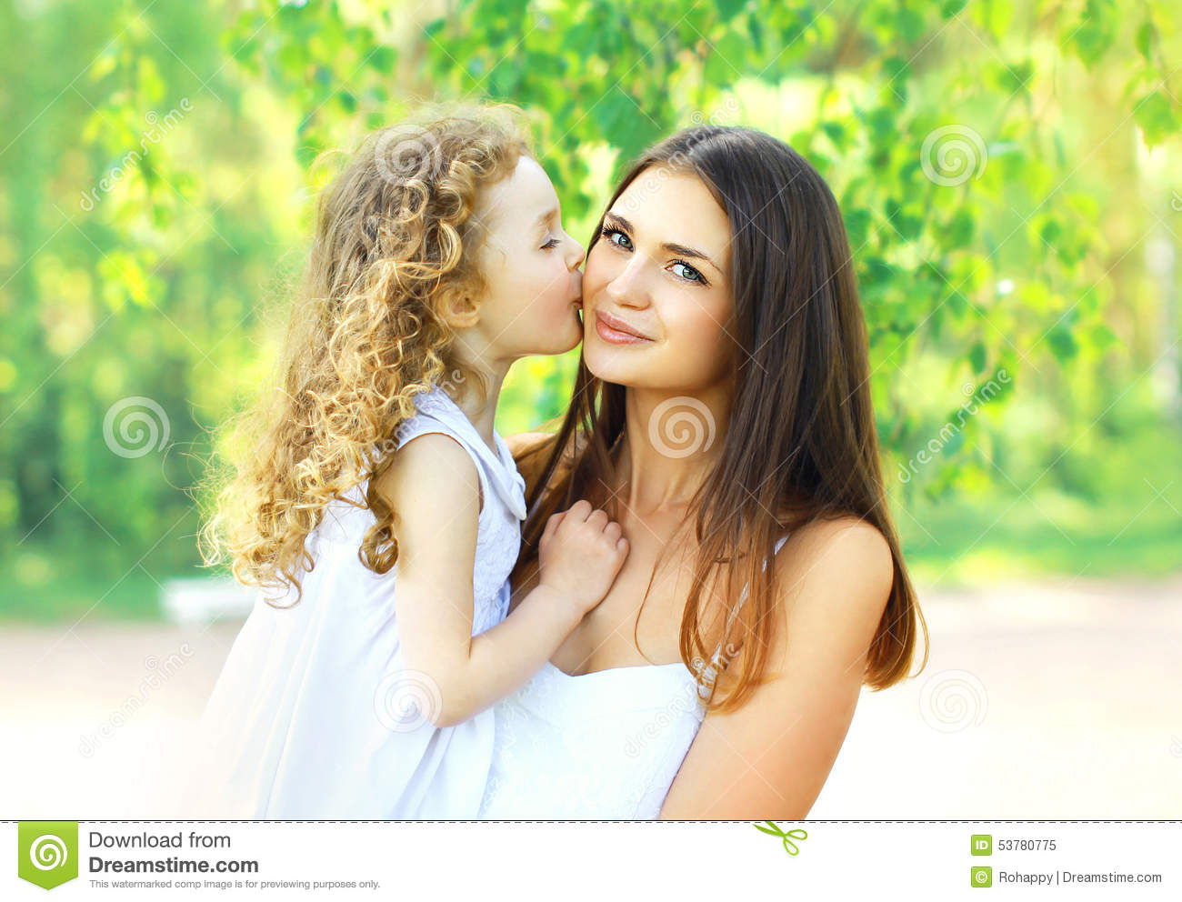 Loving Daughter Kissing Mother Happy Young Mom And Child