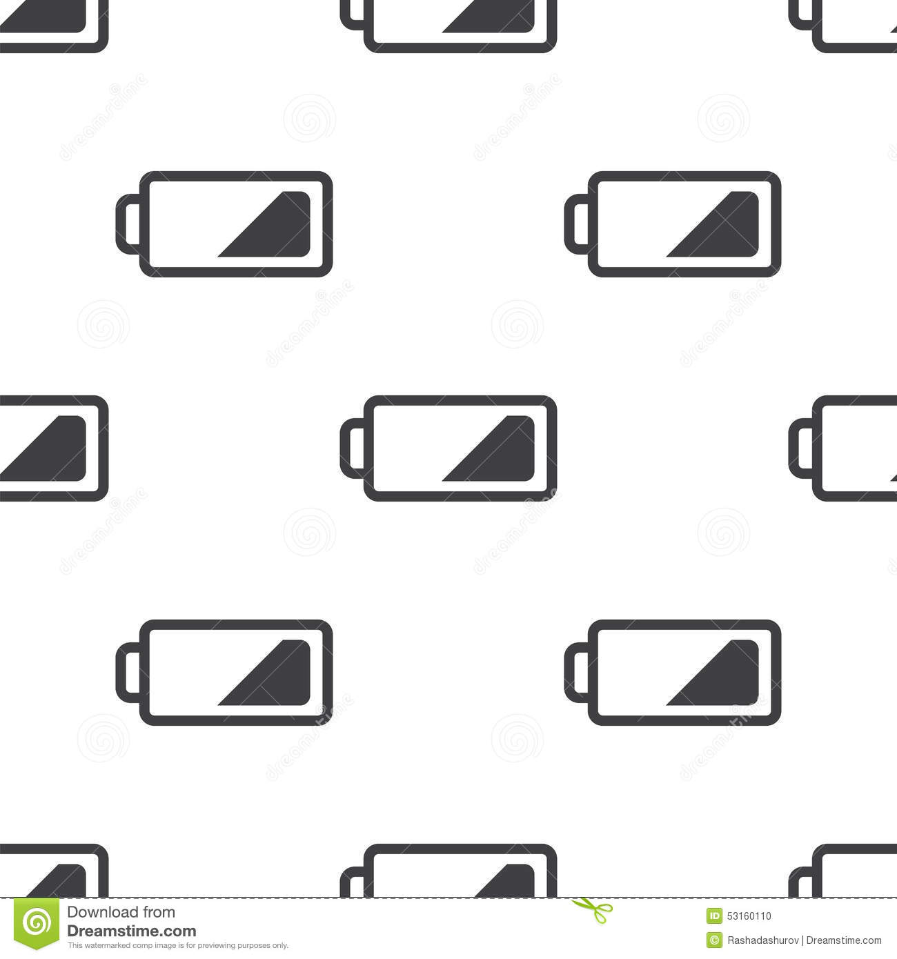 Low Battery Vector Seamless Pattern Stock Vector