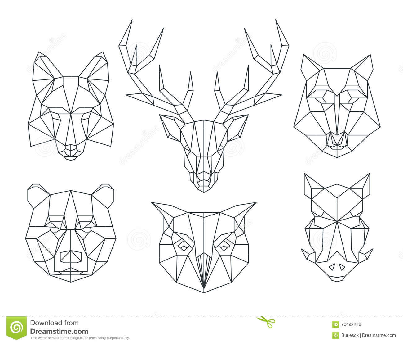Low Poly Line Animals Set Origami Poligonal Line Animals