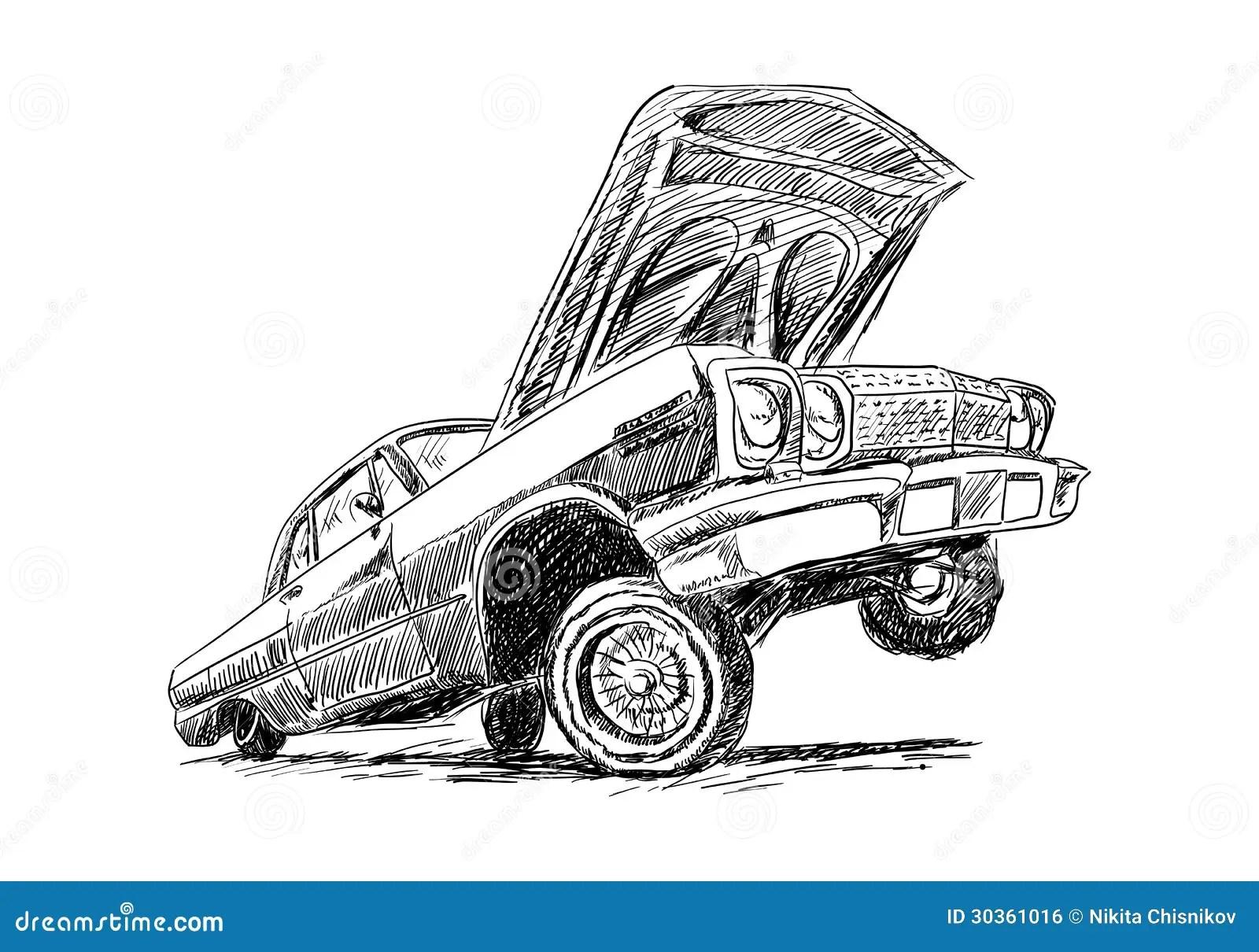 Lowrider Stock Vector Illustration Of Flag Driving