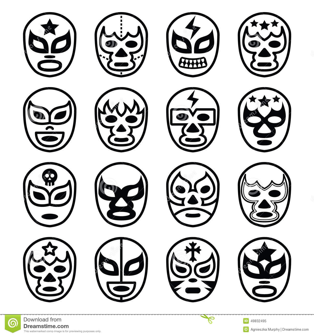 Mexican Lucha Wrestling Masks Icons Cartoon Vector