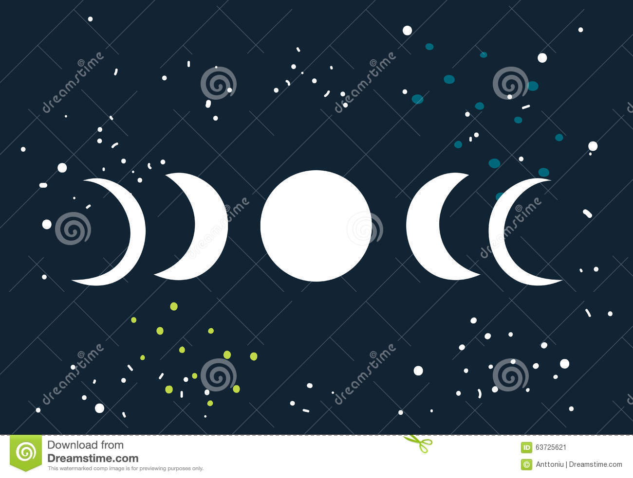 Lunar Eclipse Moon Phases Circle With Stars Space Background Stock Illustration