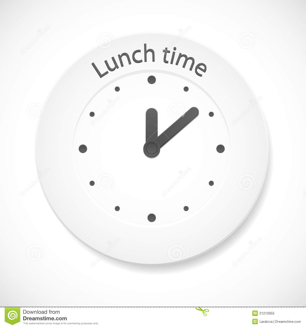Lunch time clock stock vector. Image of healthy, graphic