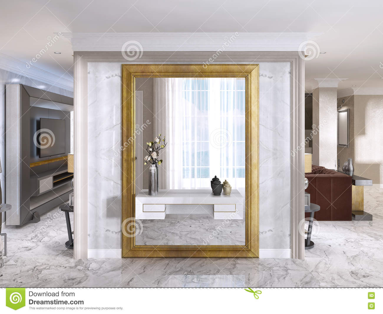 Luxurious Art Deco Entrance Hall With A Large Designer