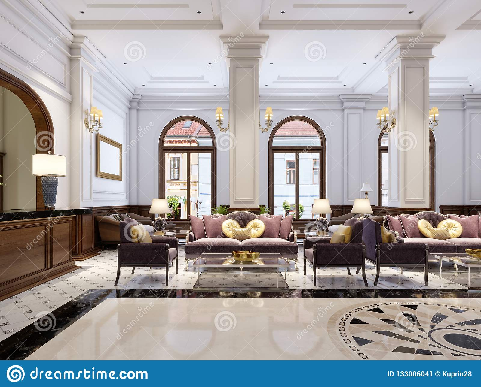 https www dreamstime com luxurious classical furniture art deco style soft purple sofa armchairs black metal legs glass coffee table image133006041