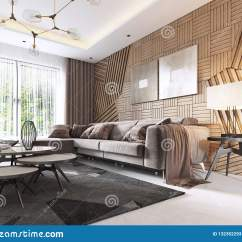 Living Room Furniture For Studio Apartments Houzz Four Chairs Luxurious In Contemporary Style With Wooden Decorative Panel On The Wall Apartment A Sofa And Dining Table 3d Rendering