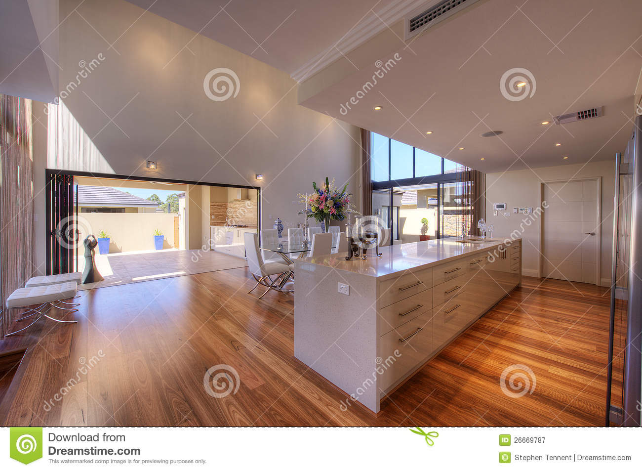 Luxurious Modern OpenPlan Galley Kitchen Stock Image  Image of breakfast ceilings 26669787