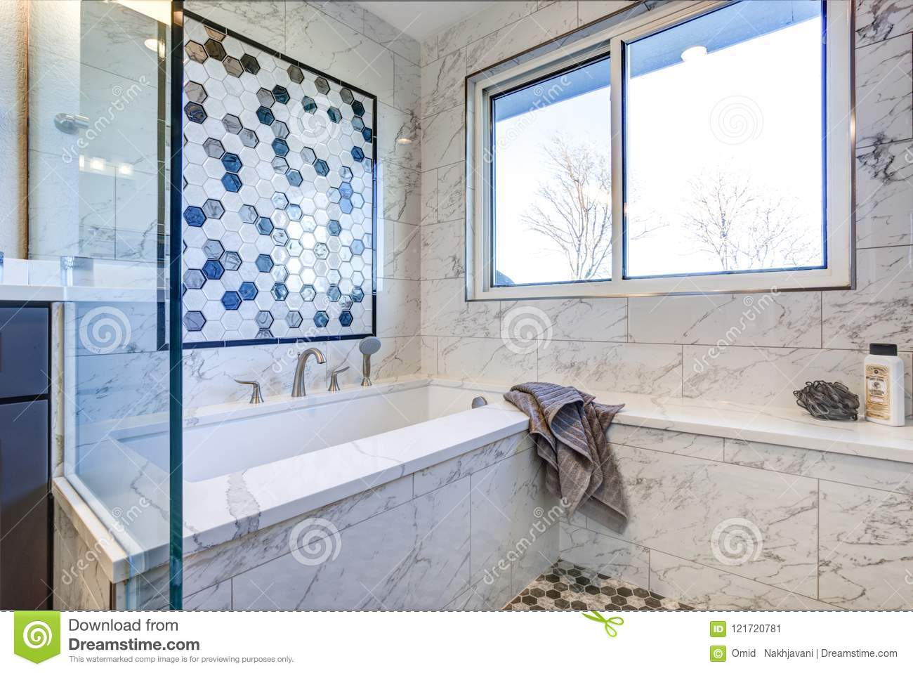 https www dreamstime com luxury bathroom marble tile surround mosaic accent wall image121720781