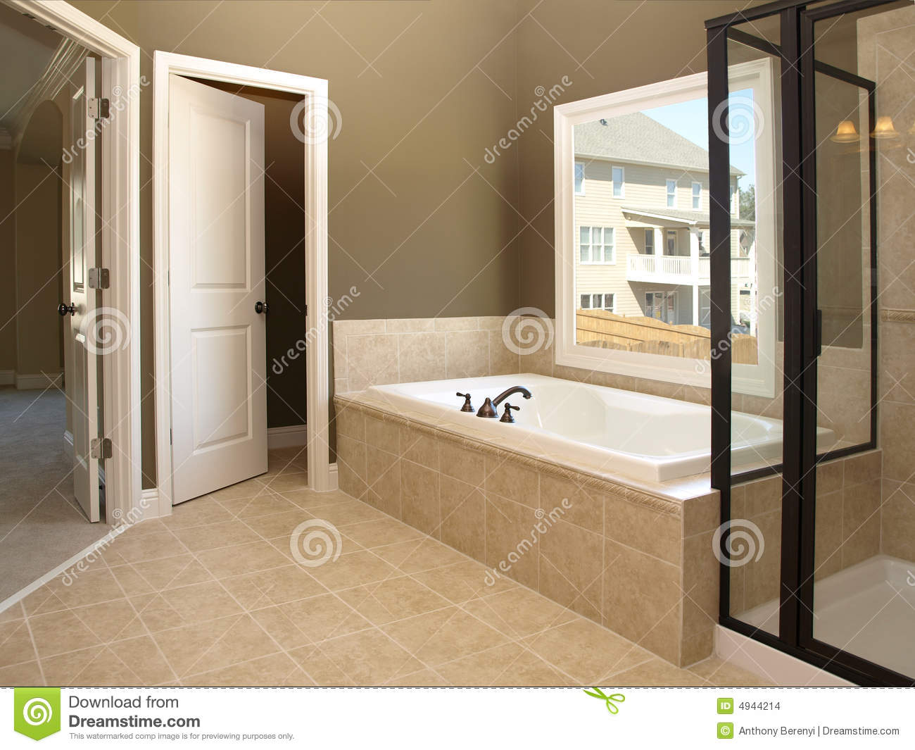 Luxury Bathroom Tub And Window 2 Stock Photo  Image of