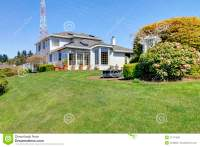 Luxury Big House With Beautiful Curb Appeal Stock Photo ...