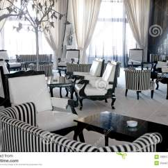Living Room Couch And 2 Chairs Wall Sconces Luxury Cafe Or Lounge Stock Image. Image Of Empty ...