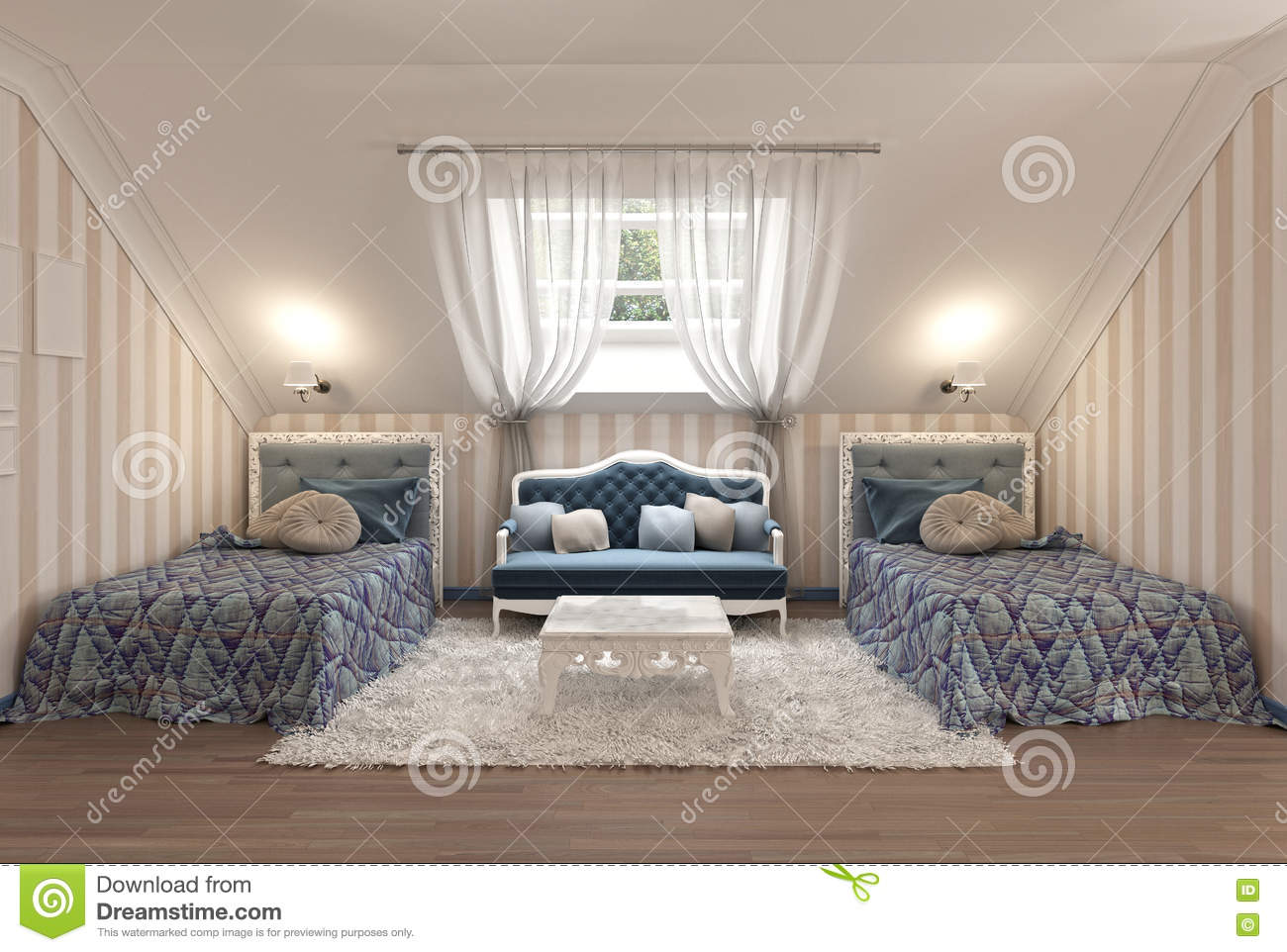 Luxury Children S Bedroom For Two Kids With Twin Beds Stock Illustration Illustration Of Lamp House 79489277