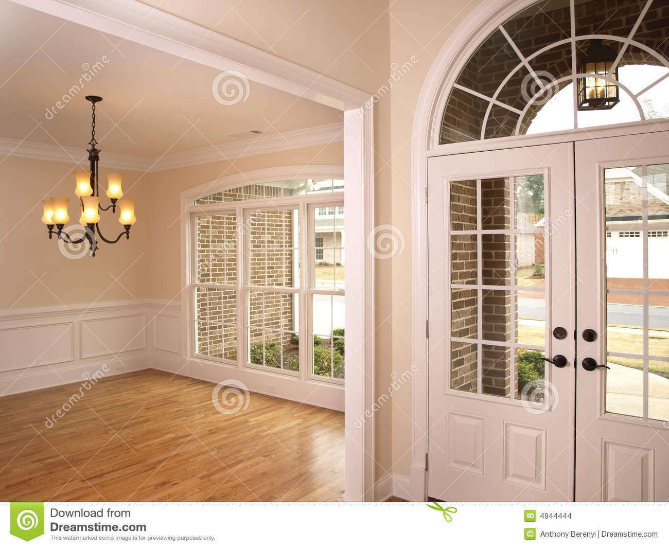 Luxury Foyer With Arched Glass Door 2 Stock Photo  Image