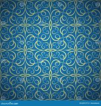 Luxury Golden Seamless Pattern On Blue Background Stock ...
