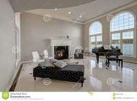 Luxury High Ceiling Living Room With Marble Floor Stock ...