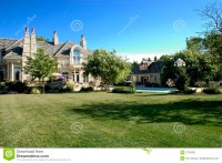 Luxury Home Back Yard stock image. Image of flower, lawn ...