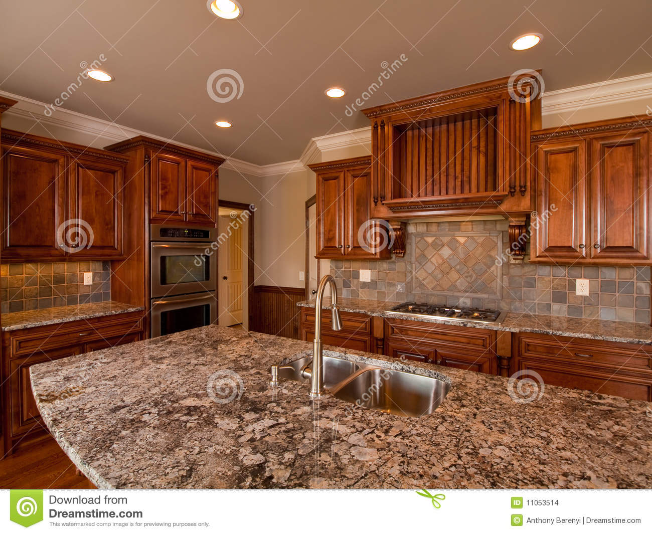 Clean Wood Kitchen Cabinets Luxury Home Dark Wood Kitchen With Countertop Stock Photo