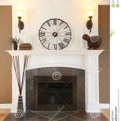 Bright Floor Lamp For Living Room Small Furniture Arrangement Pictures Luxury Home White Fireplace With Stone And Clock. Stock ...