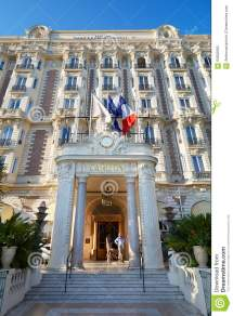 Luxury Hotel Intercontinental Carlton Facade In Cannes