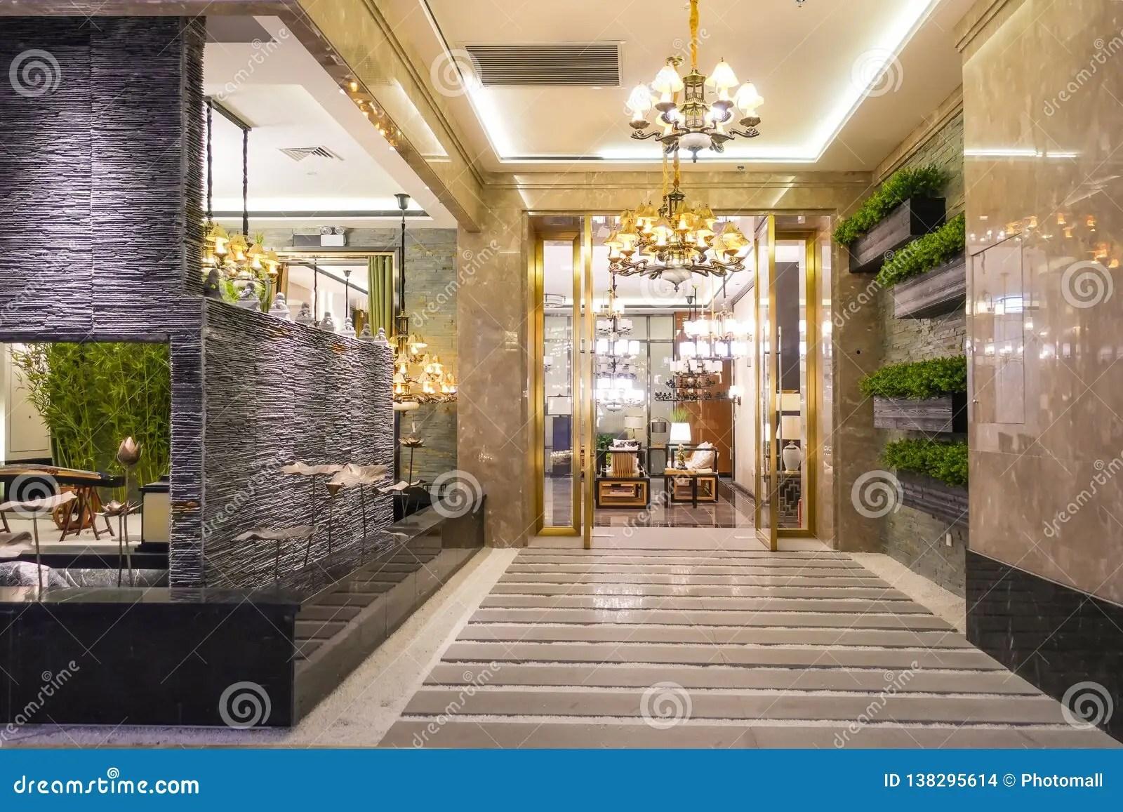 https www dreamstime com luxury hotel lobby corridor passageway lit pendant lighting image138295614