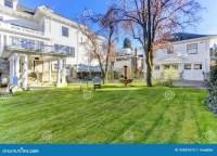 Luxury House With Backyard Garden Stock Photo - Image ...