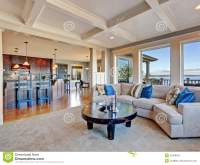 Luxury House With Open Floor Plan. Coffered Ceiling ...