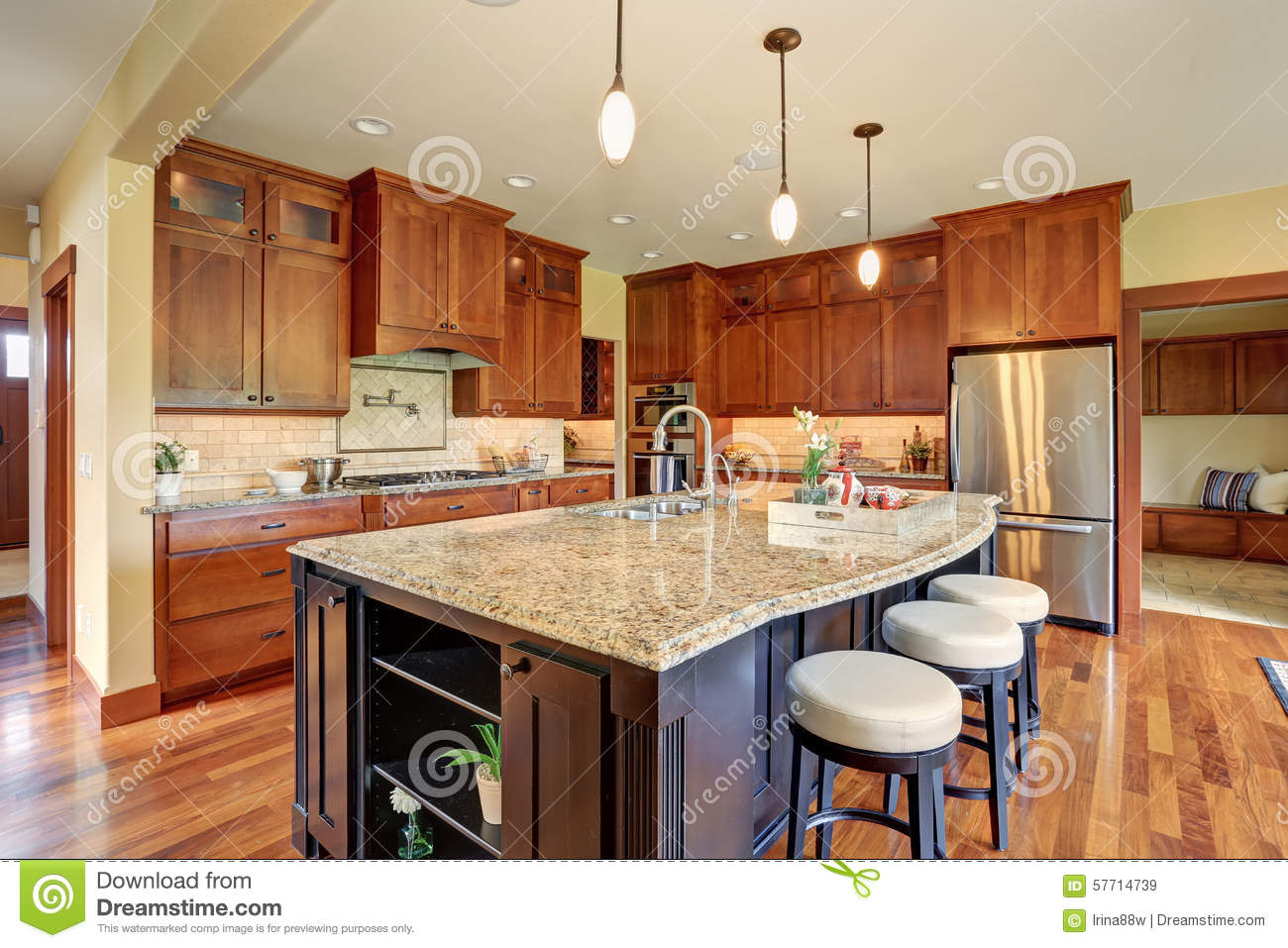 sink kitchen cabinets professional home appliances luxury with bar style island. stock image - ...
