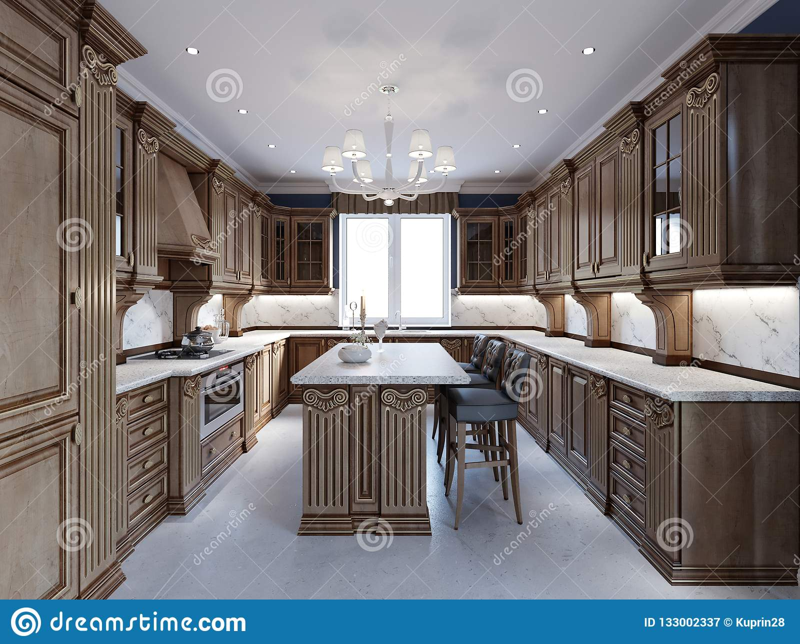 https www dreamstime com luxury kitchen tile floor stained cabinets marble counter top d rendering image133002337