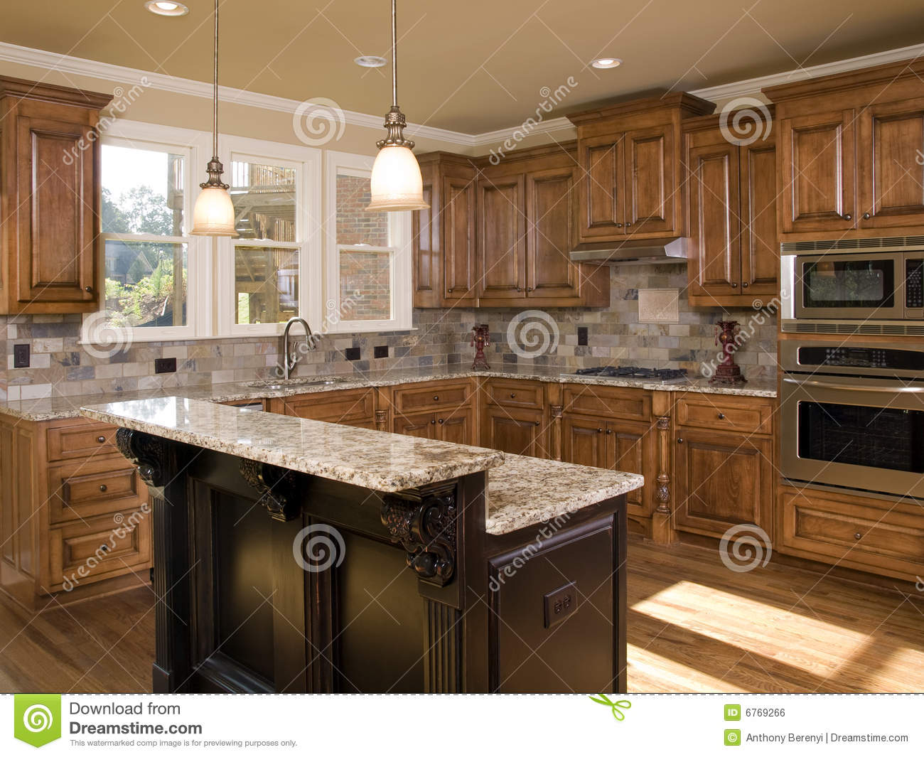 Luxury Kitchen Two Tier Island Stock Photo  Image 6769266