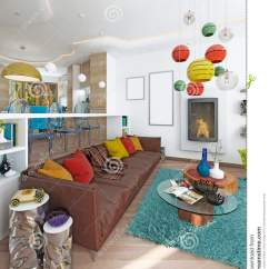 Kitschy Living Room Modern Colors For Rooms Luxury Large In The Style Of Kitsch Stock Illustration Contemporary With Leather Brown Sofa Colorful Pillows And Two Green Chairs A