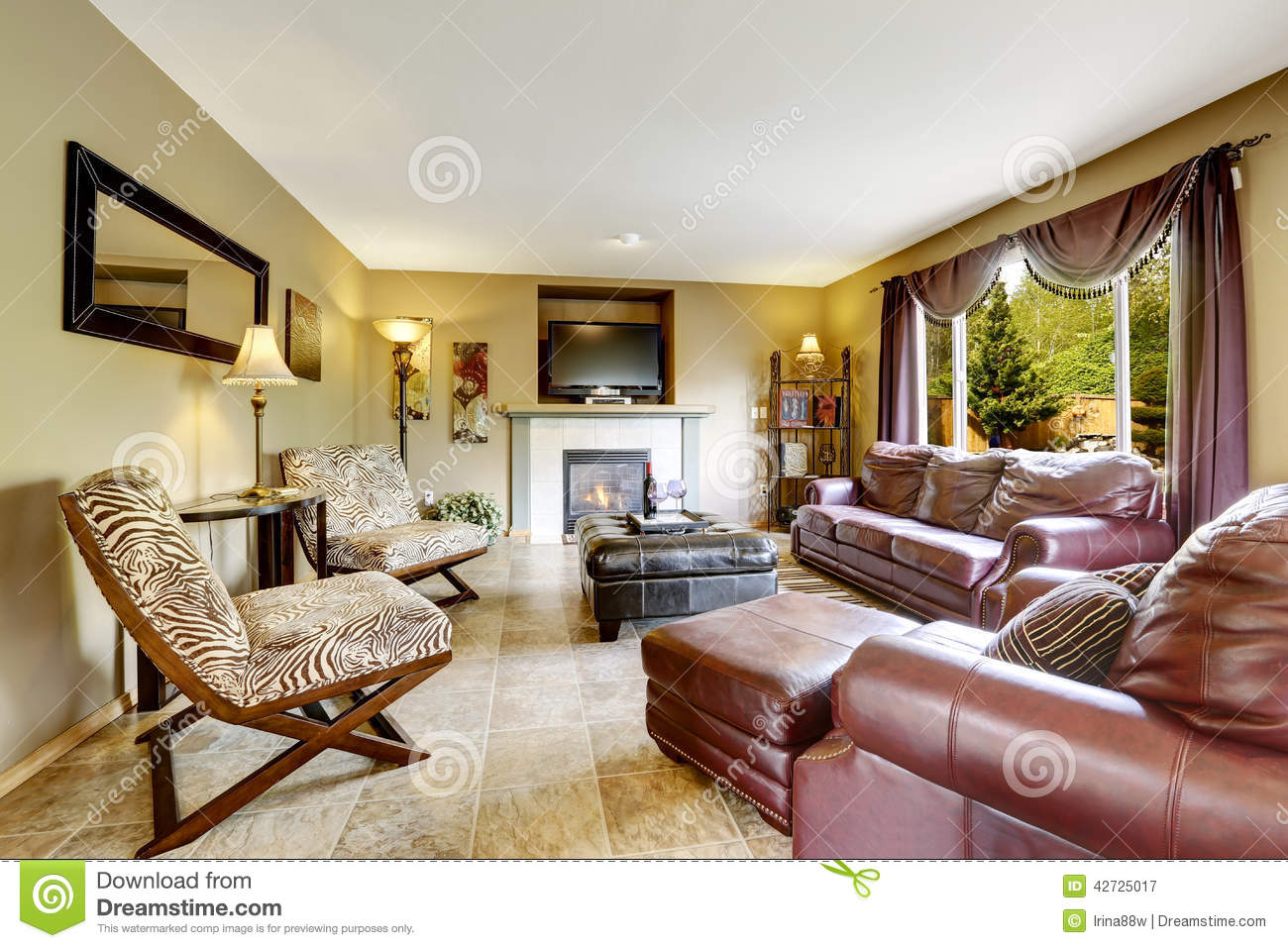 Luxury Living Room With Leather Furniture Set Stock Image