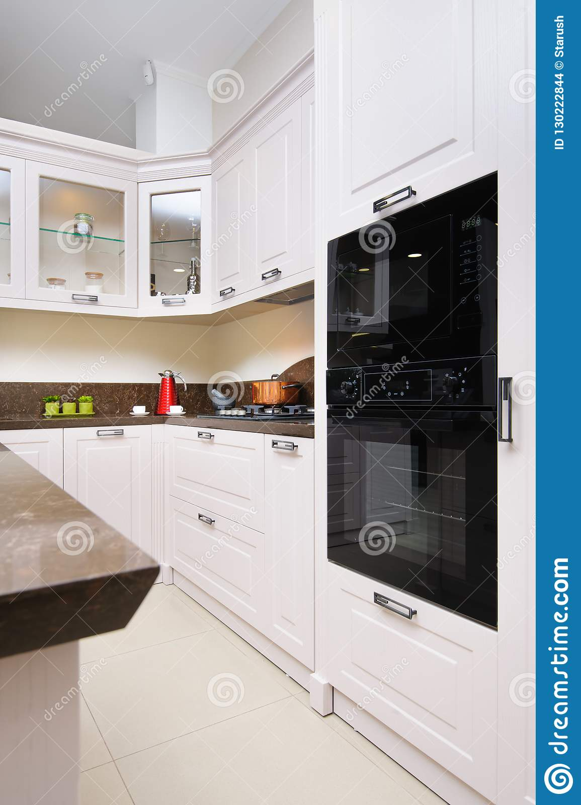 https www dreamstime com luxury modern beige kitchen interior light embedded microwave electric oven gas stove minimalistic clean design image130222844