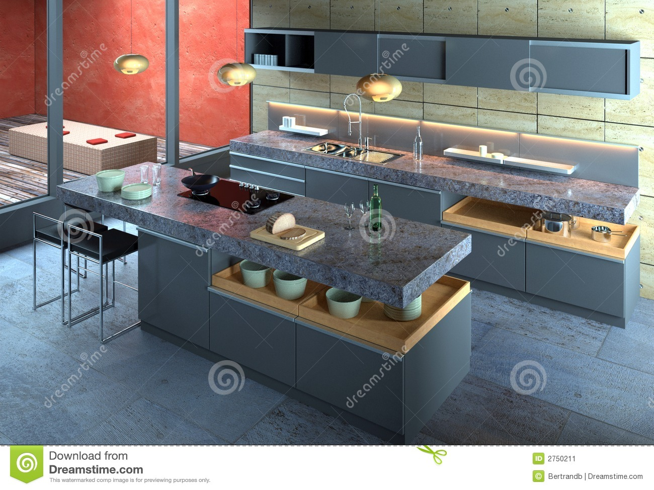 Luxury Modern Kitchen Interior Stock Image  Image 2750211