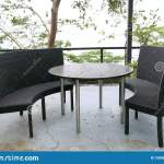 Luxury Terrace Balcony With Dining Table And Chairs In A Restaurant Or Resort Stock Photo Image Of Design Lamp 150861598