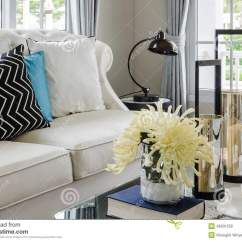 Living Room Flower Vases What Colour Should I Paint A Small Luxury White Sofa In With Vase Stock Photo