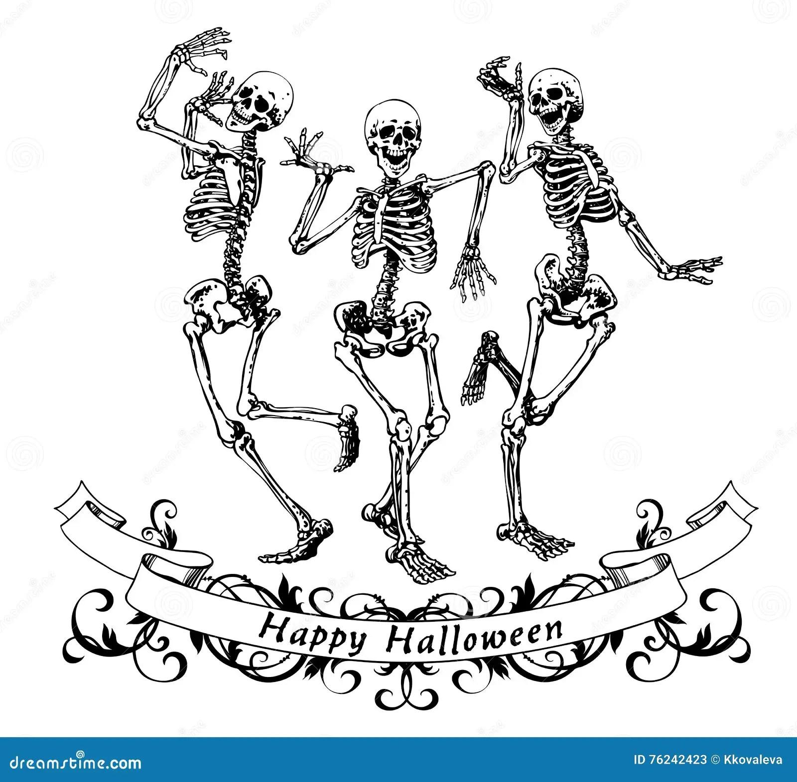 Lyckliga Halloween Dansskelett Isolerade