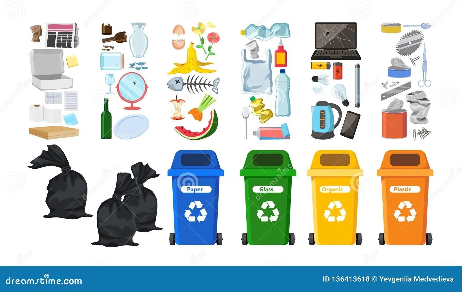 Mlleimer Fr Die Wiederverwertung Von Verschiedenen Abfallarten AbfallbehlterVektorsatz Fr