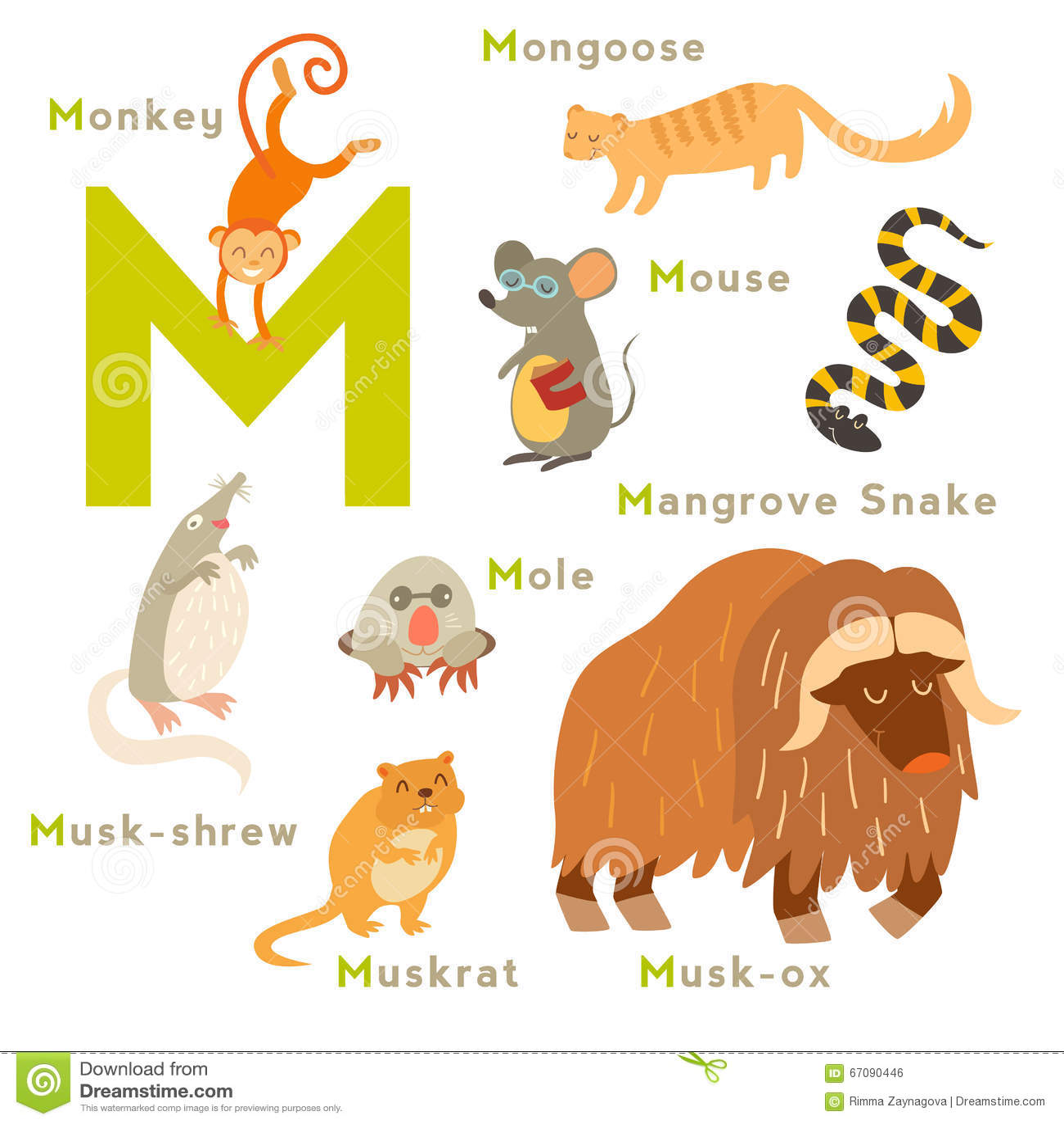 M Letter Animals Set English Alphabet Stock Illustration