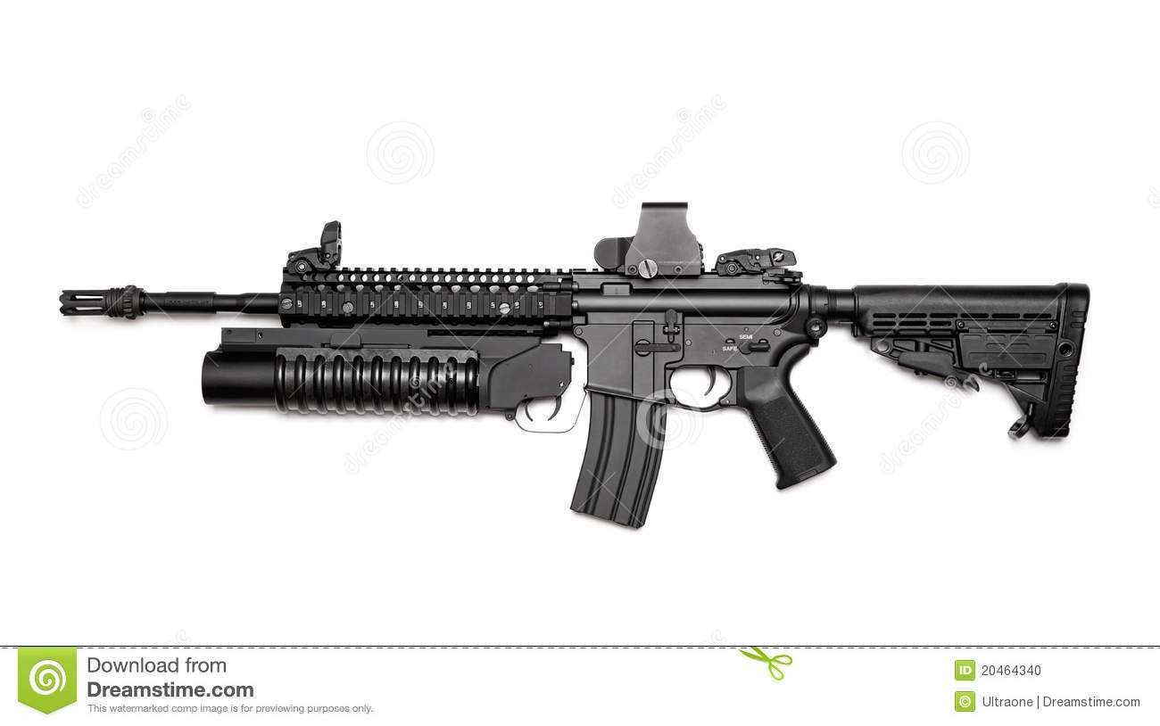 M4a1 Assault Rifle With Grenade Launcher Stock Photo