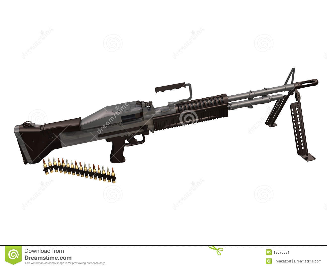 M60 Machine Gun 3d Stock Vector Illustration Of Weapon