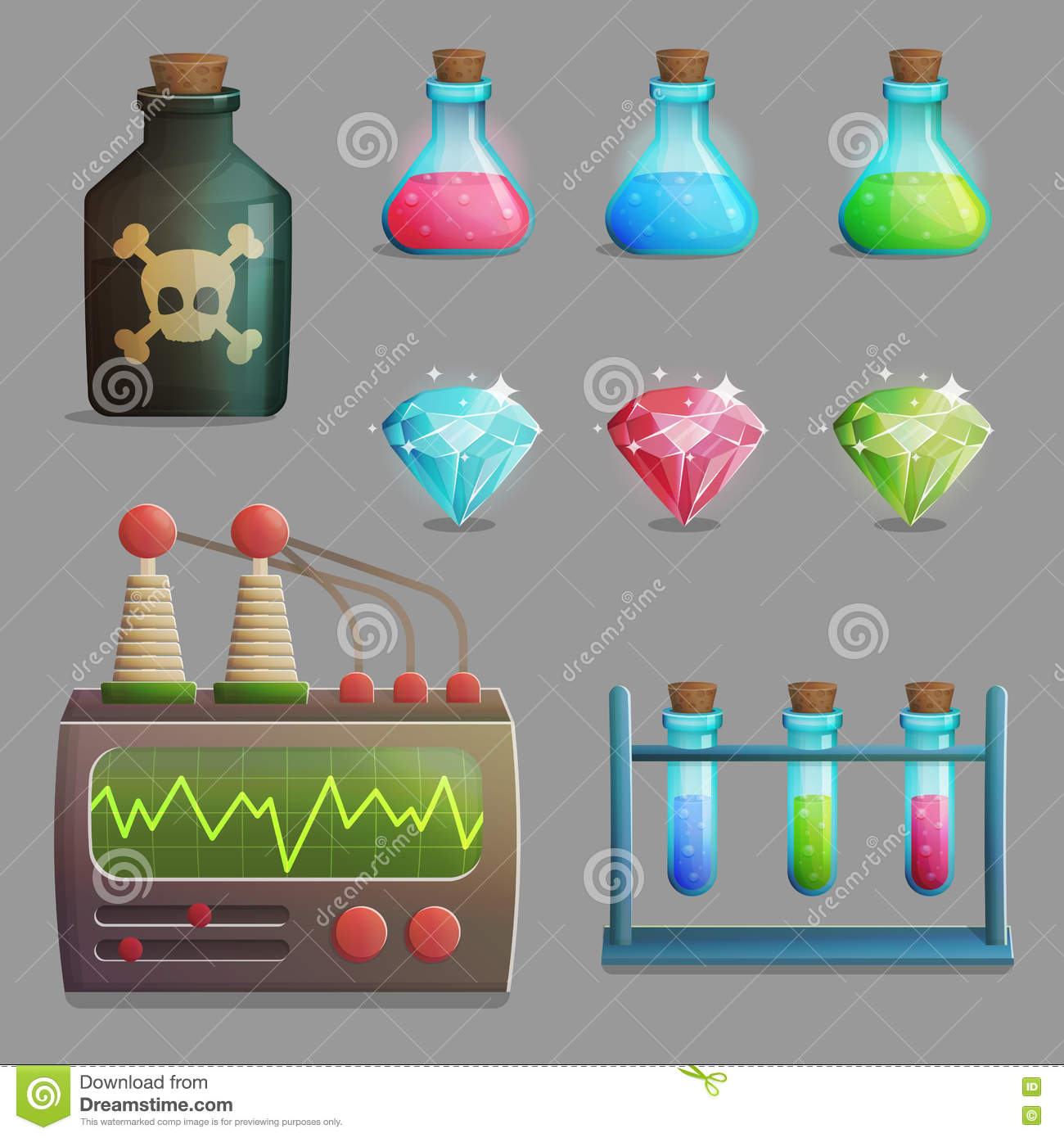 Mad Professor Laboratory Items For Game Design Stock Vector