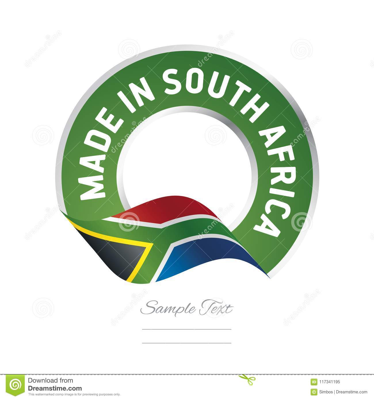 Made In South Africa Flag Green Color Label Logo Icon