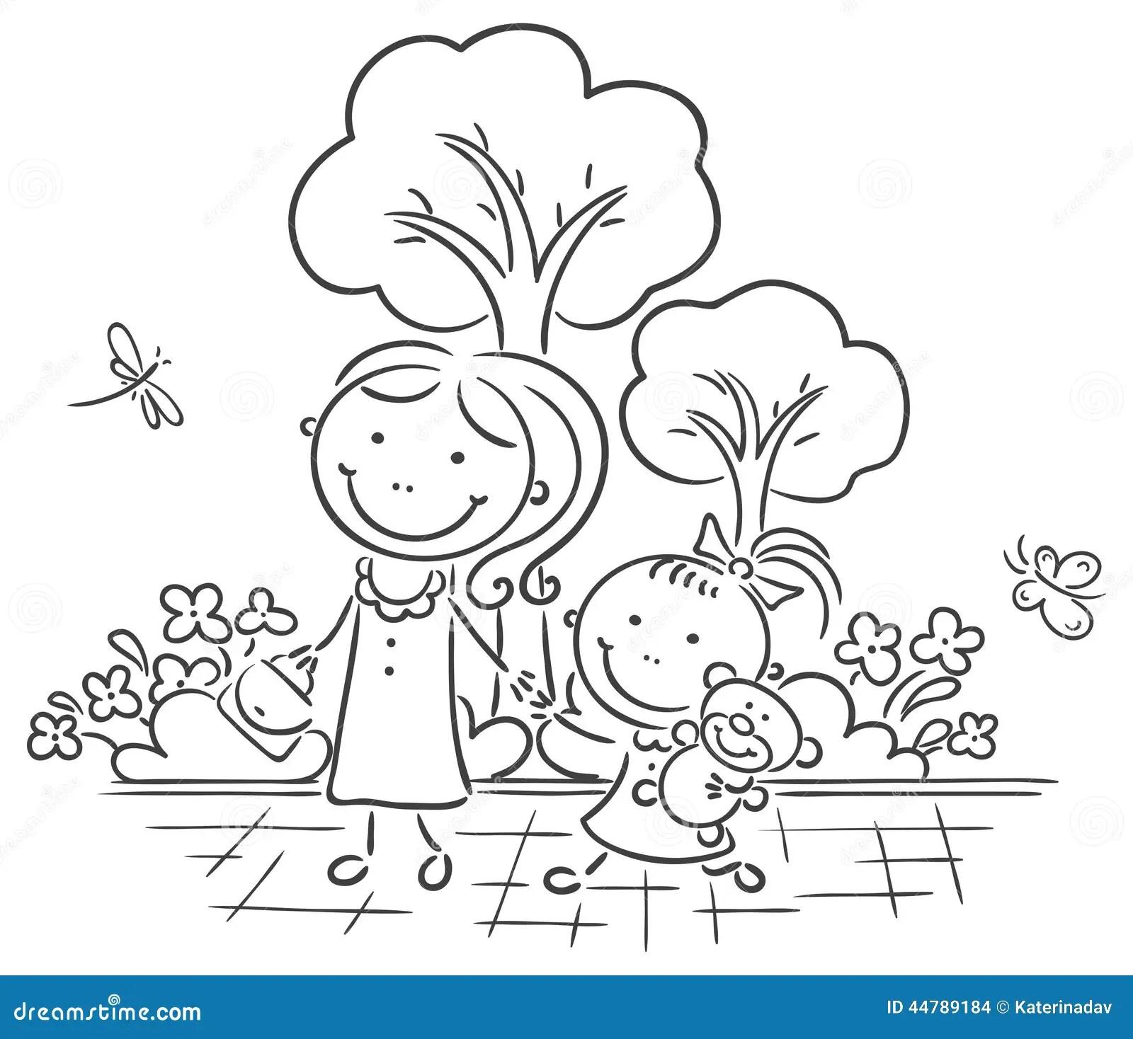 Madre E Hija Que Recorren En El Parque Ilustración del