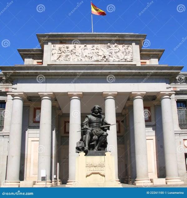 Madrid Museo Del Prado With Velazquez Statue Stock