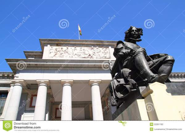 Madrid Museo Del Prado With Velazquez Statue Stock #22261100