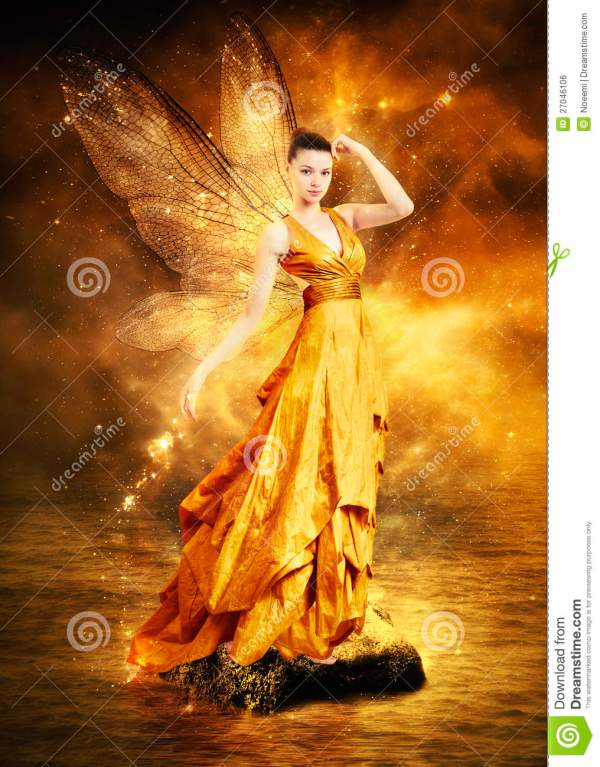 Magical Young Woman Golden Fairy Stock - Of