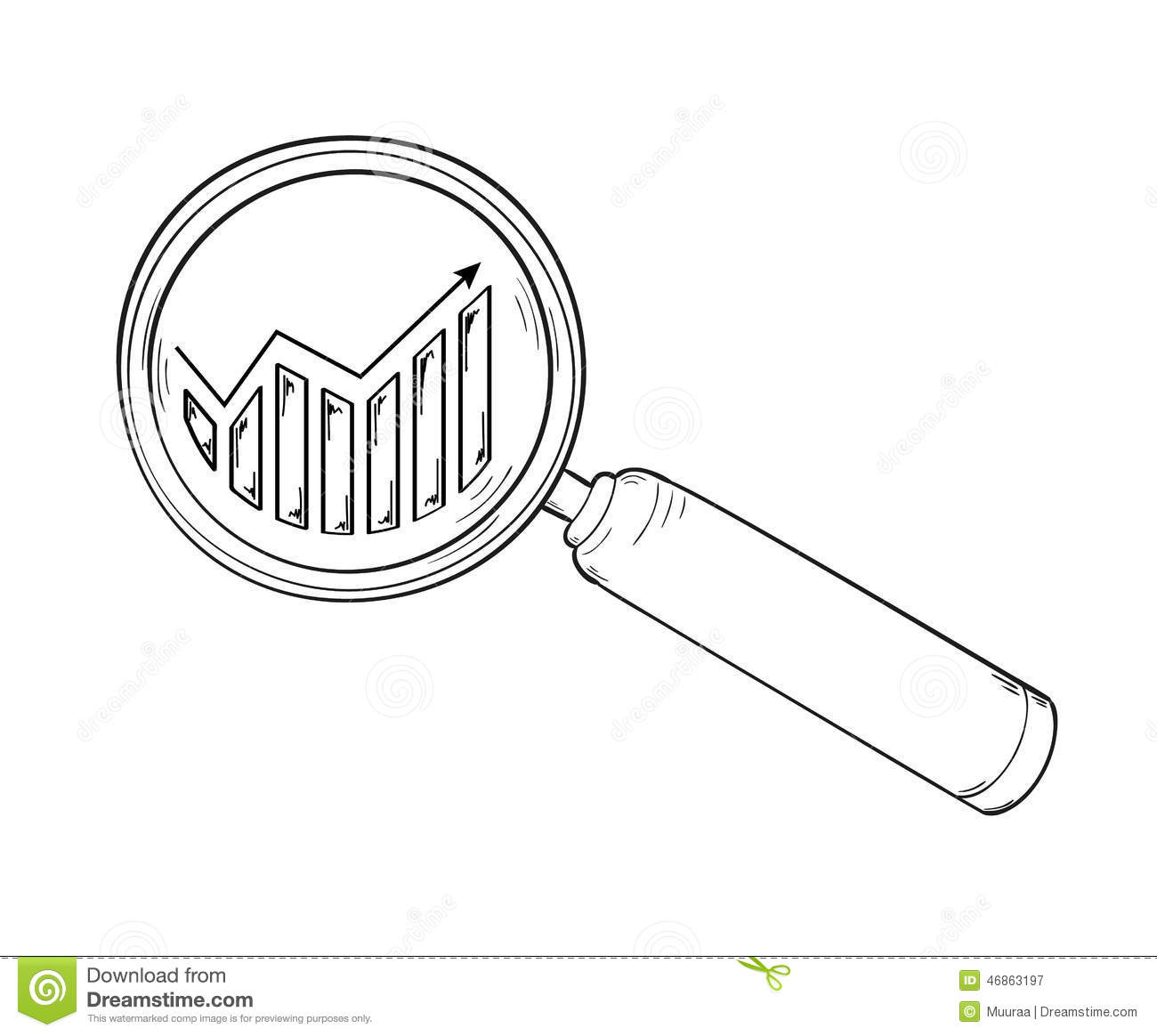 Magnifying Glass And Chart With Arrow Stock Vector