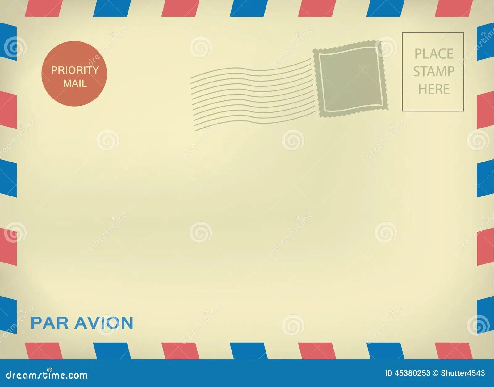 Mailing Enveloper Par Avion On Aged Paper Stock Vector