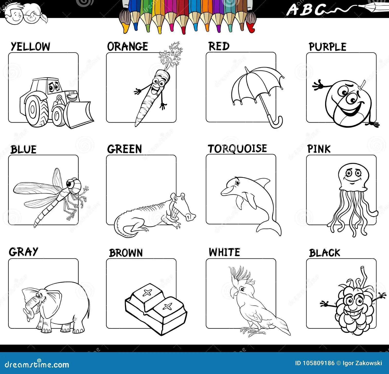 Main Colors Educational Worksheet For Coloring Stock